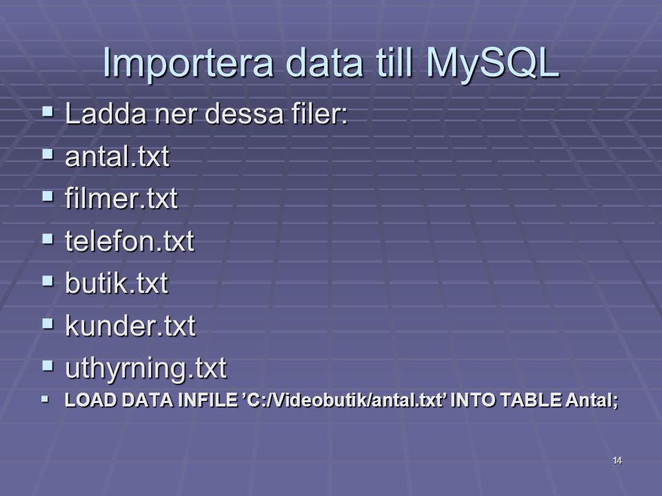 Importera data till MySQL