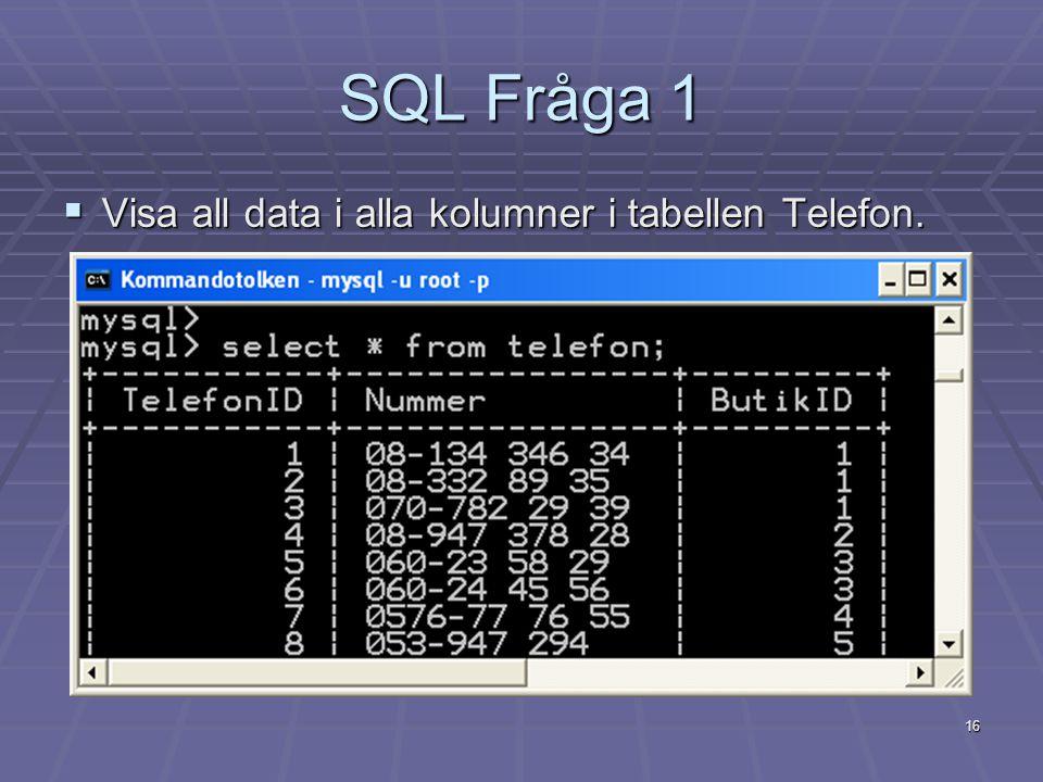SQL Fråga 1 Visa all data i alla kolumner i tabellen Telefon.