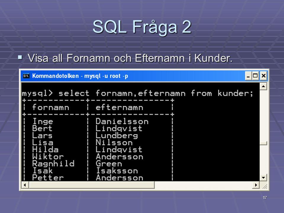 SQL Fråga 2 Visa all Fornamn och Efternamn i Kunder.