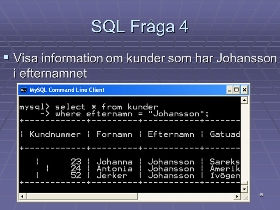 SQL Fråga 4 Visa information om kunder som har Johansson i efternamnet