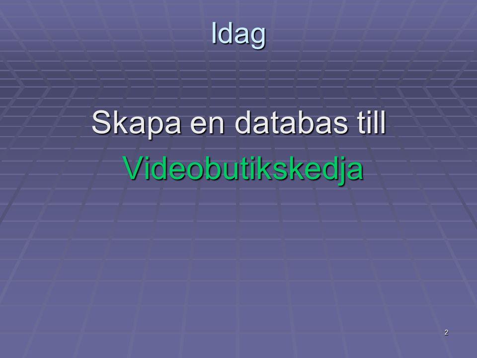 Idag Skapa en databas till Videobutikskedja