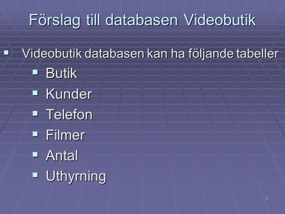 Förslag till databasen Videobutik