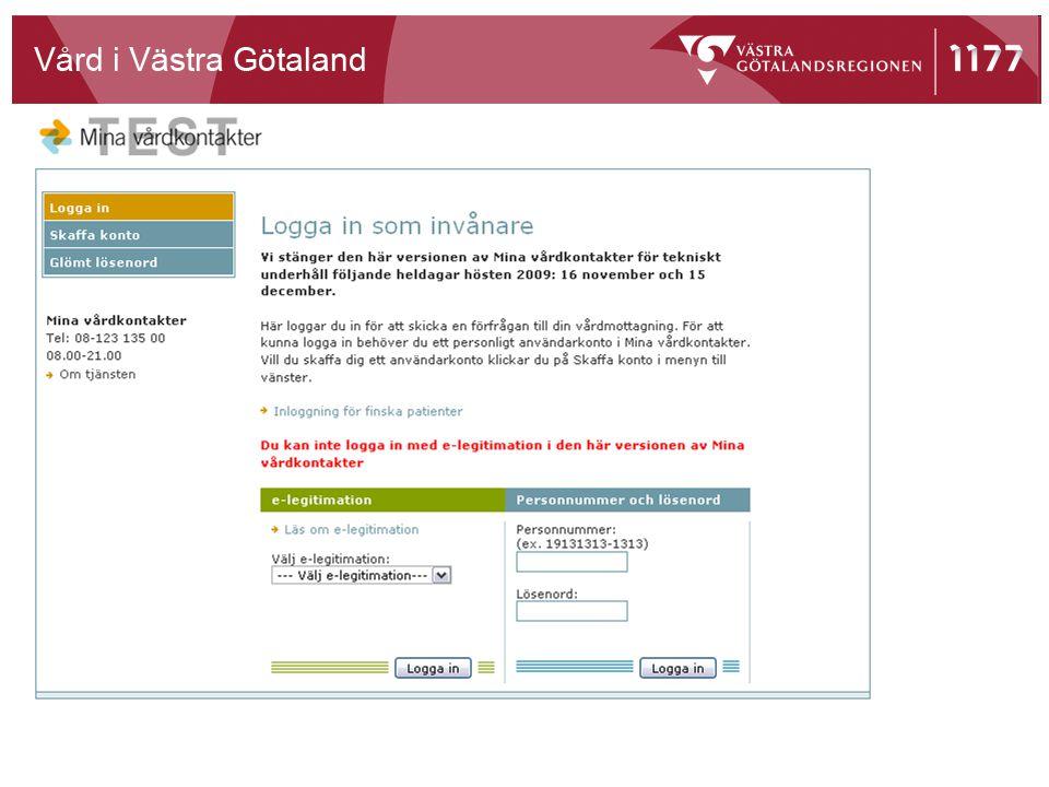 Inloggningssida för invånare/patienter.