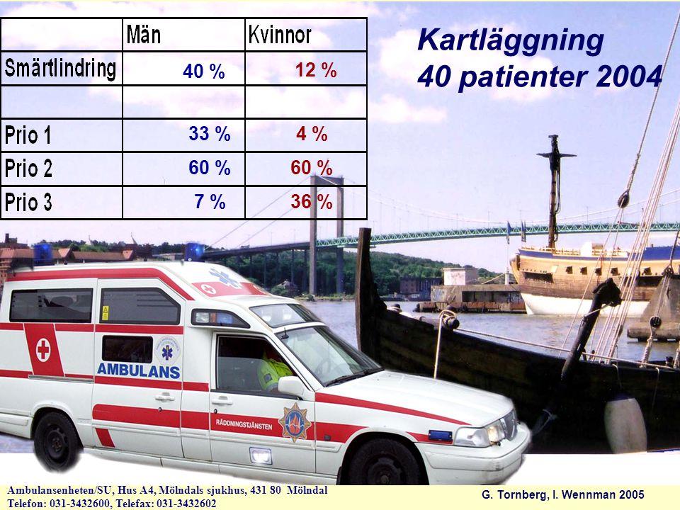Kartläggning 40 patienter 2004 40 % 12 % 33 % 4 % 60 % 60 % 7 % 36 %