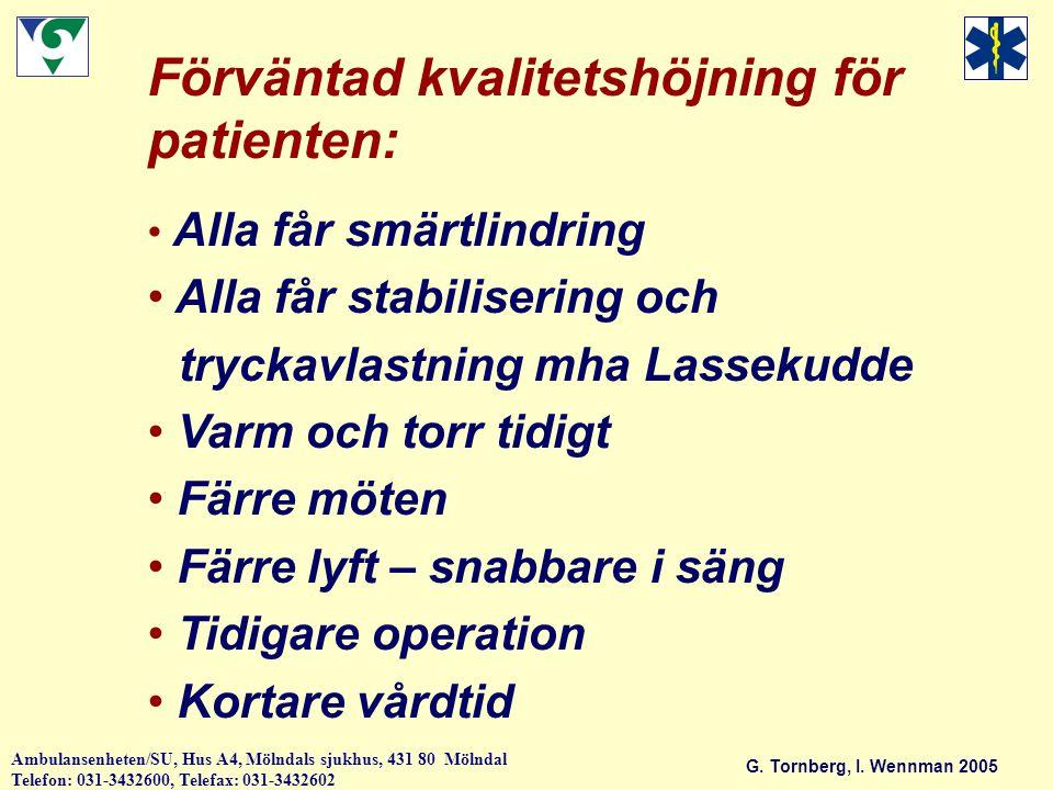 Förväntad kvalitetshöjning för patienten: