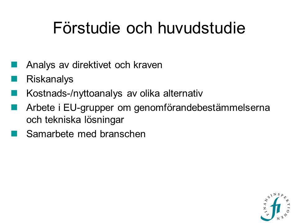 Förstudie och huvudstudie