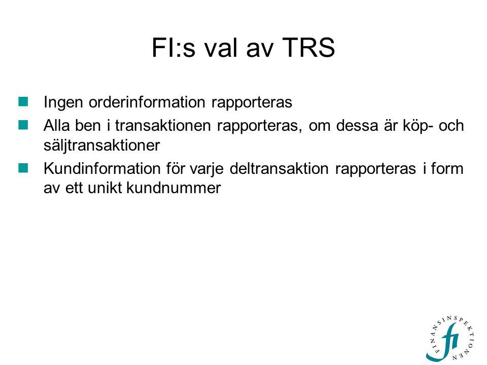 FI:s val av TRS Ingen orderinformation rapporteras