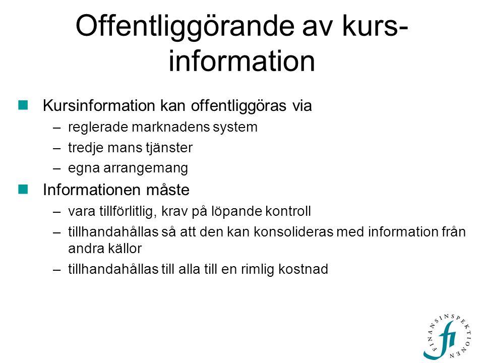 Offentliggörande av kurs-information