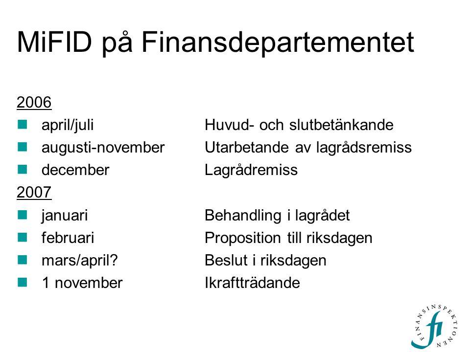 MiFID på Finansdepartementet