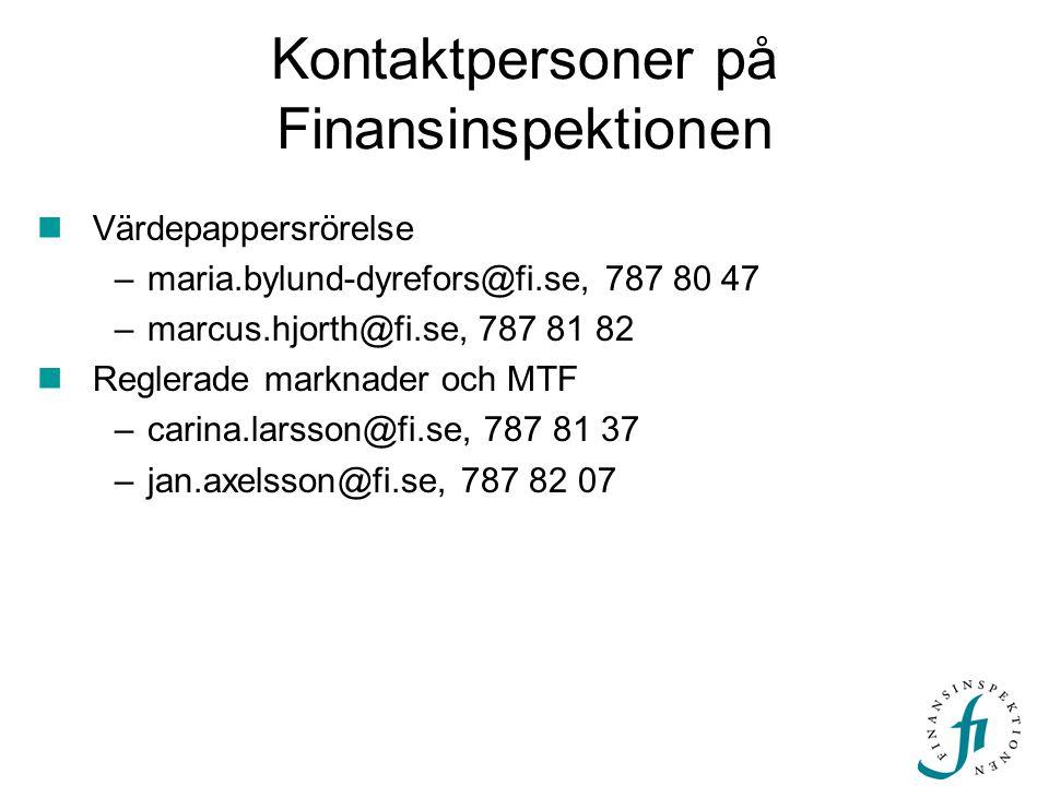 Kontaktpersoner på Finansinspektionen