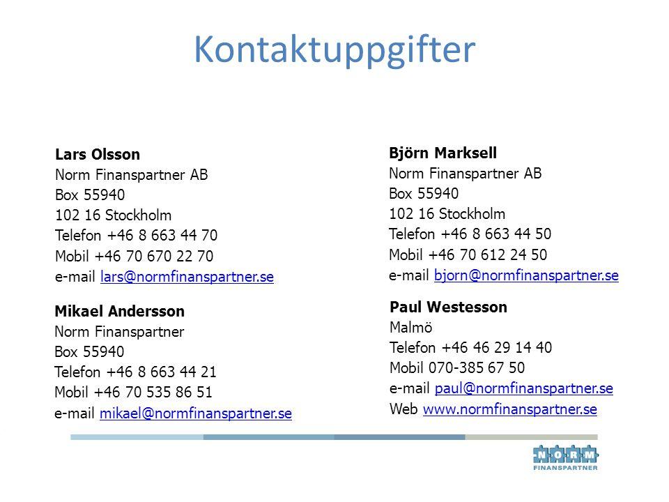 Kontaktuppgifter Lars Olsson Björn Marksell Norm Finanspartner AB