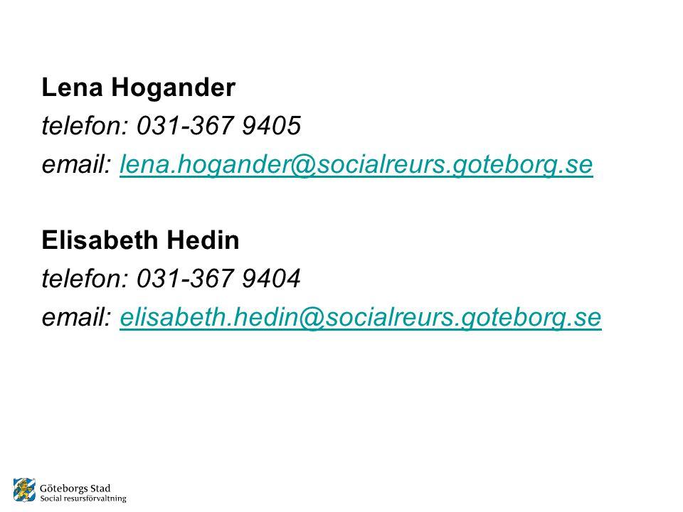 Lena Hogander telefon: 031-367 9405. email: lena.hogander@socialreurs.goteborg.se. Elisabeth Hedin.