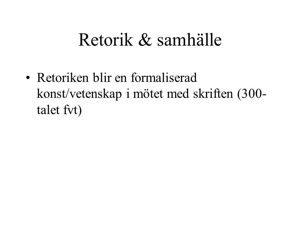 Retorik & samhälle Retoriken blir en formaliserad konst/vetenskap i mötet med skriften (300-talet fvt)