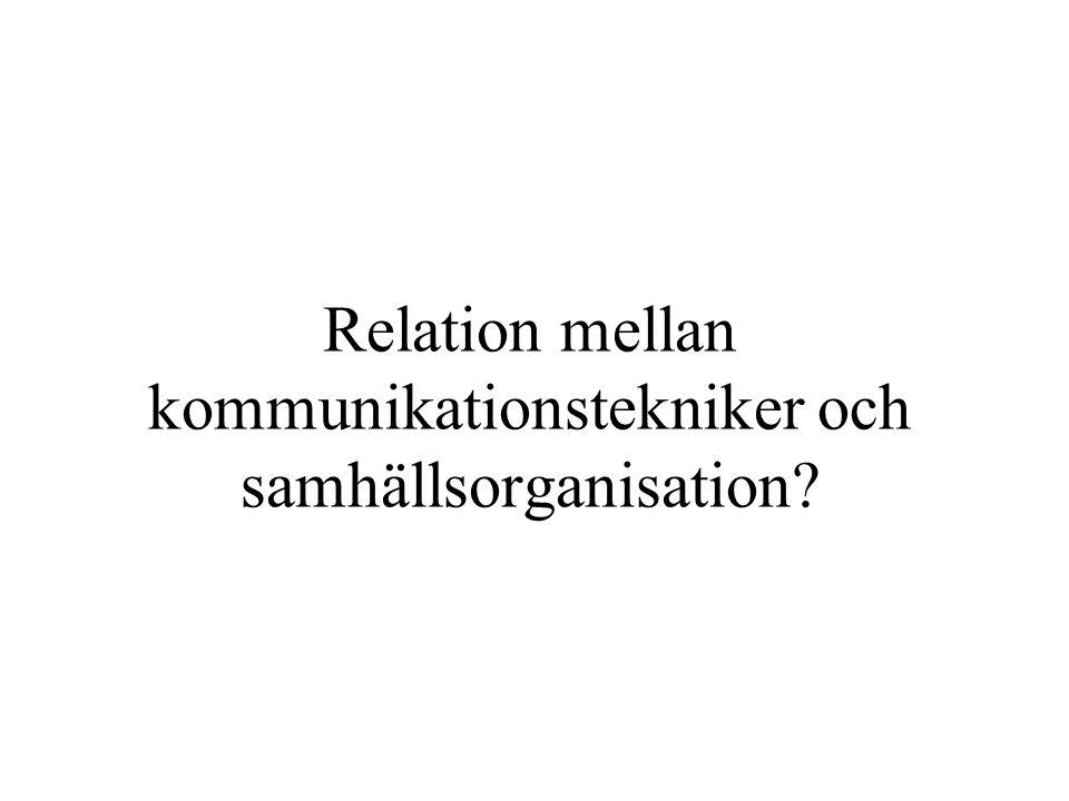 Relation mellan kommunikationstekniker och samhällsorganisation