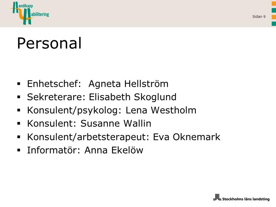 Personal Enhetschef: Agneta Hellström Sekreterare: Elisabeth Skoglund