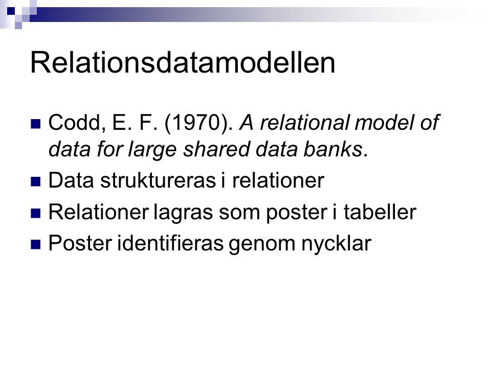Relationsdatamodellen