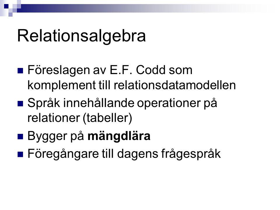 Relationsalgebra Föreslagen av E.F. Codd som komplement till relationsdatamodellen. Språk innehållande operationer på relationer (tabeller)
