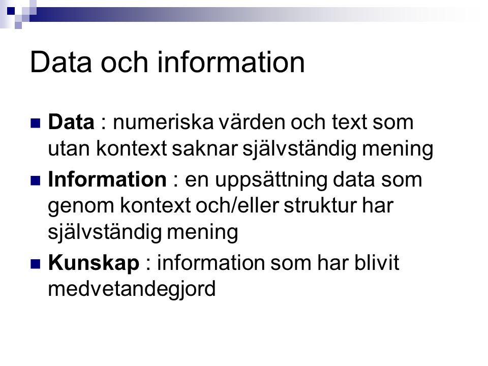 Data och information Data : numeriska värden och text som utan kontext saknar självständig mening.