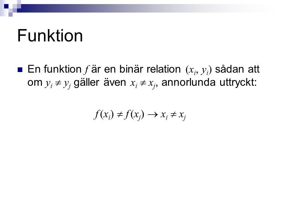 Funktion En funktion f är en binär relation (xi, yi) sådan att om yi  yj gäller även xi  xj, annorlunda uttryckt: