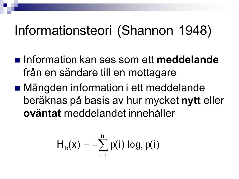 Informationsteori (Shannon 1948)