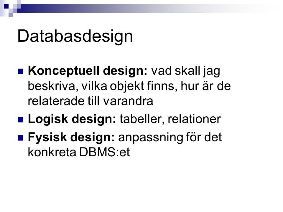 Databasdesign Konceptuell design: vad skall jag beskriva, vilka objekt finns, hur är de relaterade till varandra.