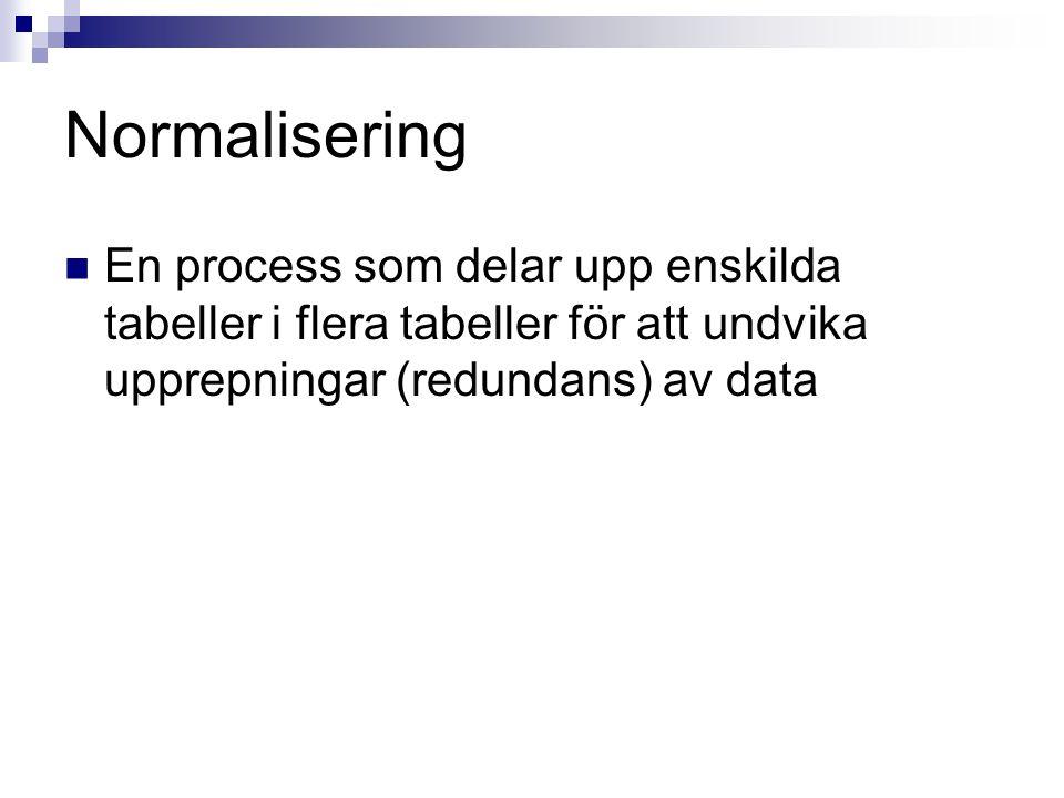 Normalisering En process som delar upp enskilda tabeller i flera tabeller för att undvika upprepningar (redundans) av data.
