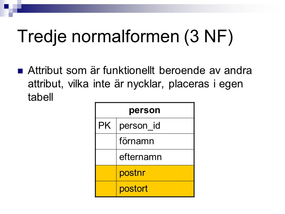 Tredje normalformen (3 NF)