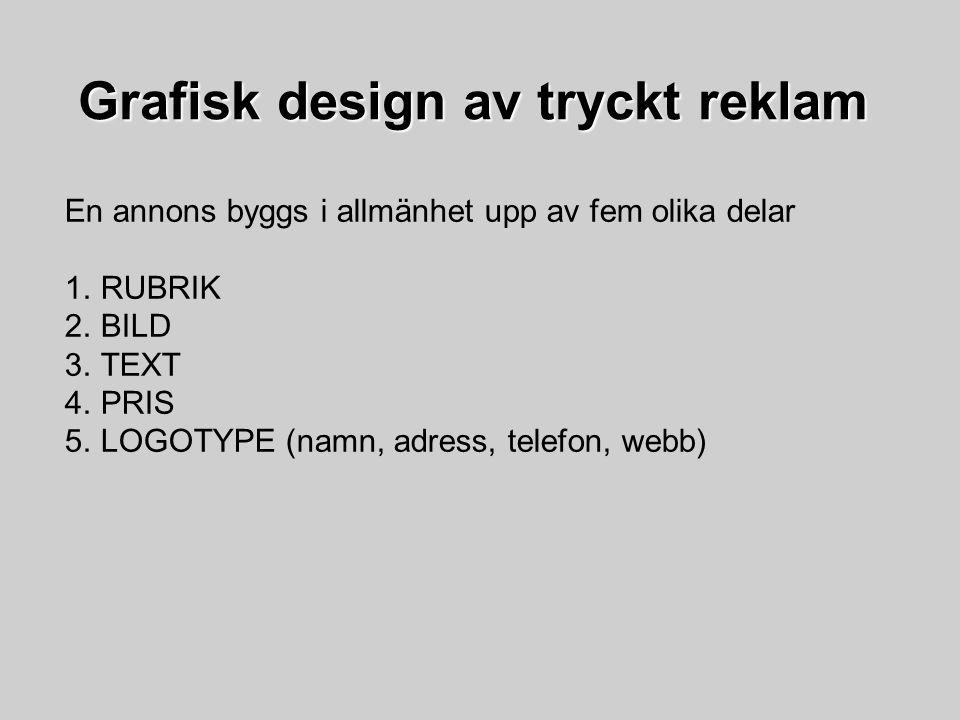 Grafisk design av tryckt reklam