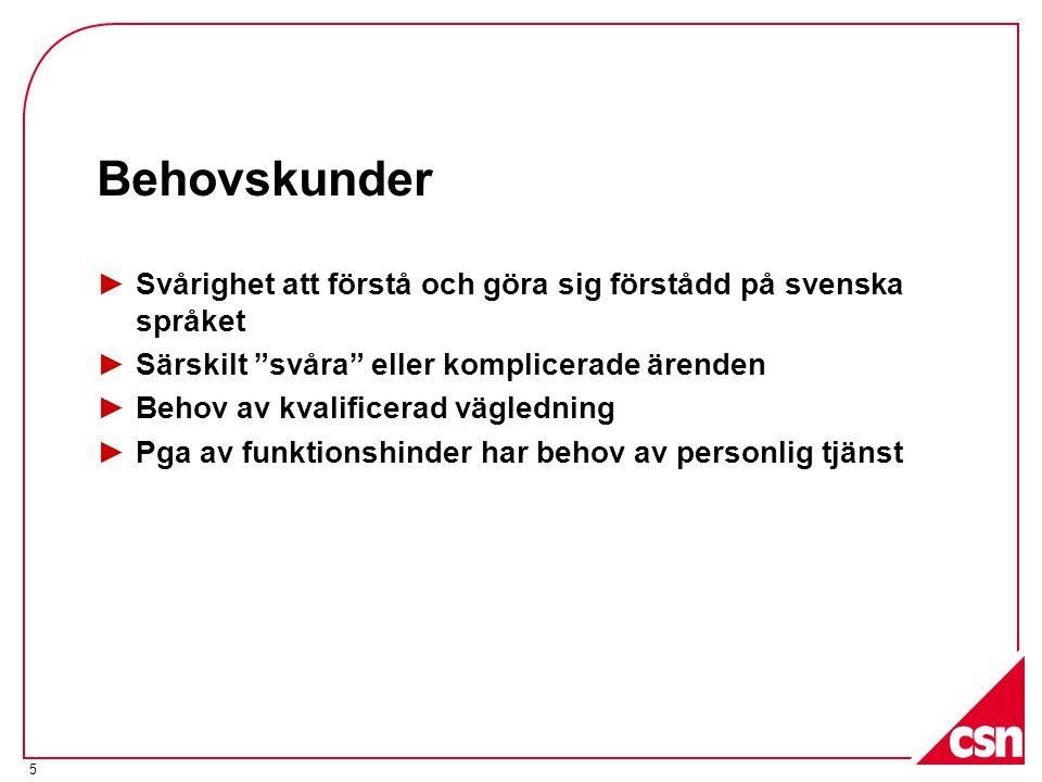 Behovskunder Svårighet att förstå och göra sig förstådd på svenska språket. Särskilt svåra eller komplicerade ärenden.
