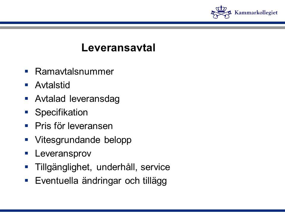 Leveransavtal Ramavtalsnummer Avtalstid Avtalad leveransdag