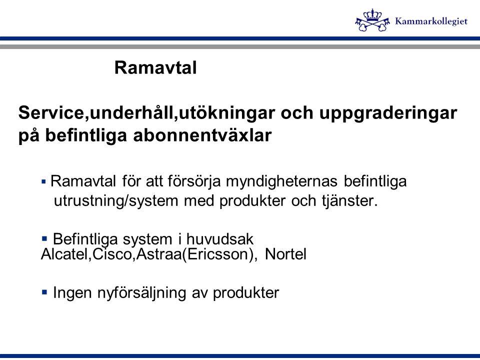 Ramavtal Service,underhåll,utökningar och uppgraderingar på befintliga abonnentväxlar