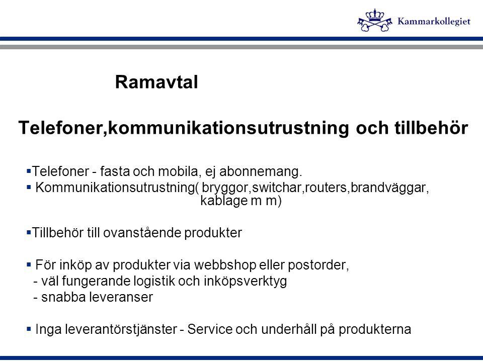 Ramavtal Telefoner,kommunikationsutrustning och tillbehör
