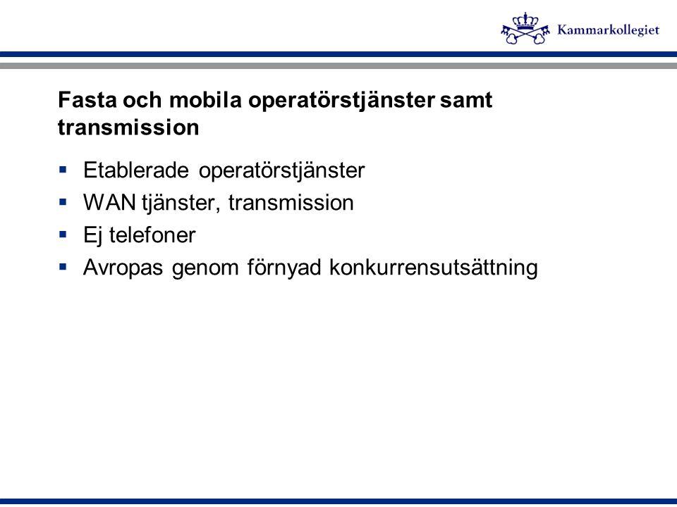 Fasta och mobila operatörstjänster samt transmission