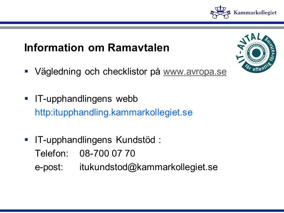 Information om Ramavtalen
