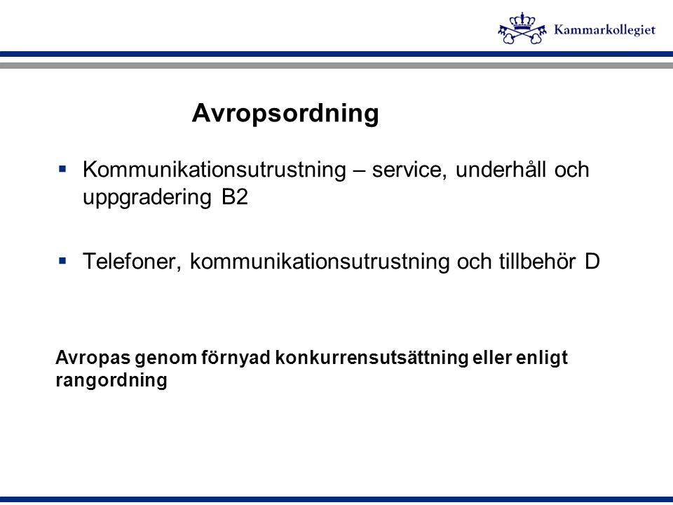 Avropsordning Kommunikationsutrustning – service, underhåll och uppgradering B2. Telefoner, kommunikationsutrustning och tillbehör D.
