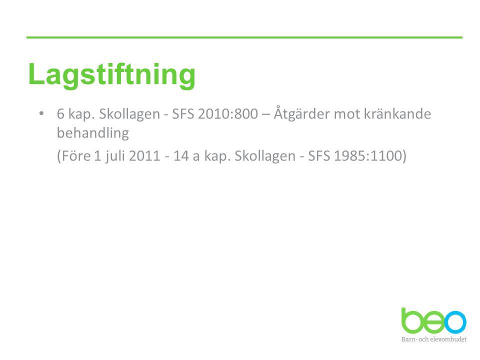 Lagstiftning 6 kap. Skollagen - SFS 2010:800 – Åtgärder mot kränkande behandling.