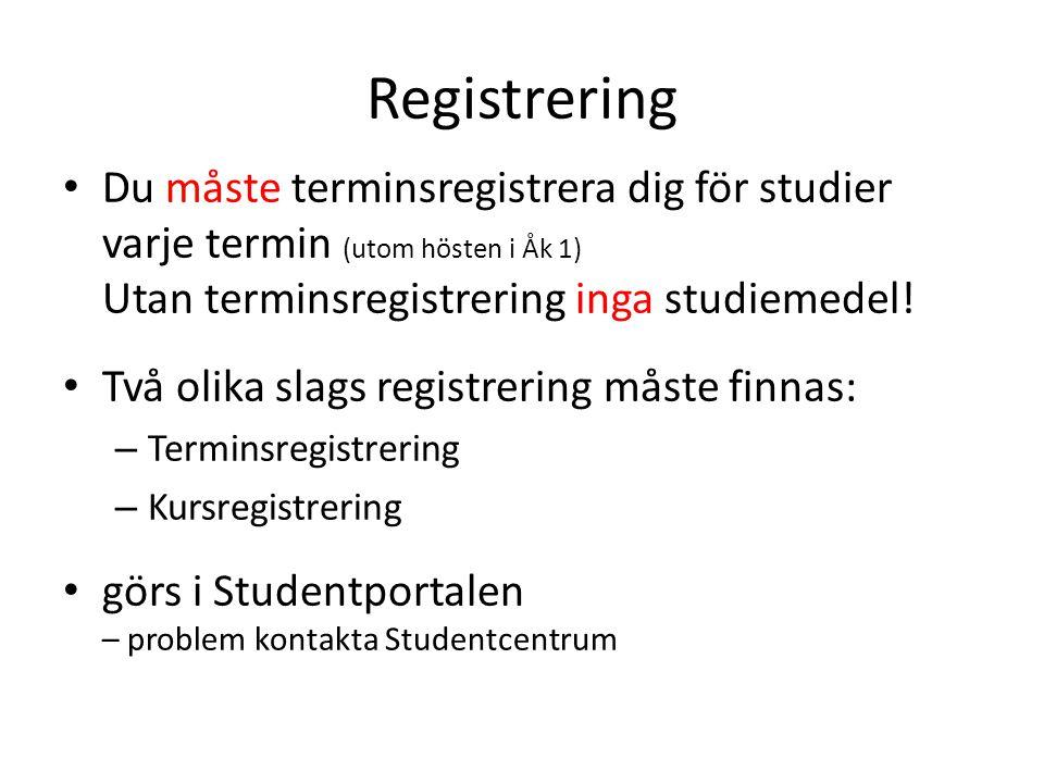 Registrering Du måste terminsregistrera dig för studier varje termin (utom hösten i Åk 1) Utan terminsregistrering inga studiemedel!