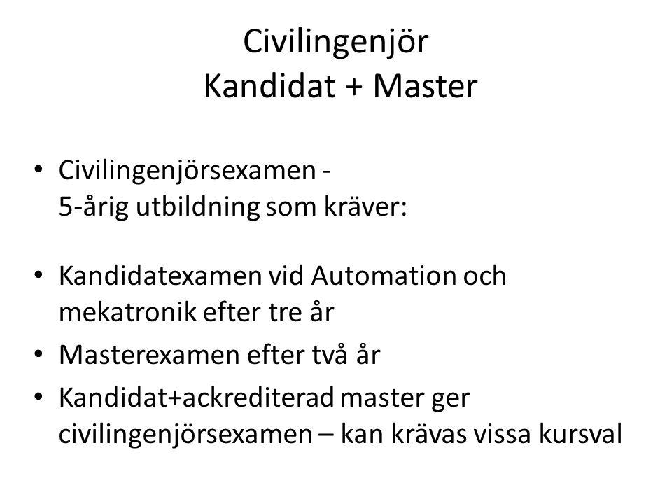 Civilingenjör Kandidat + Master