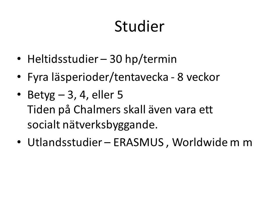 Studier Heltidsstudier – 30 hp/termin