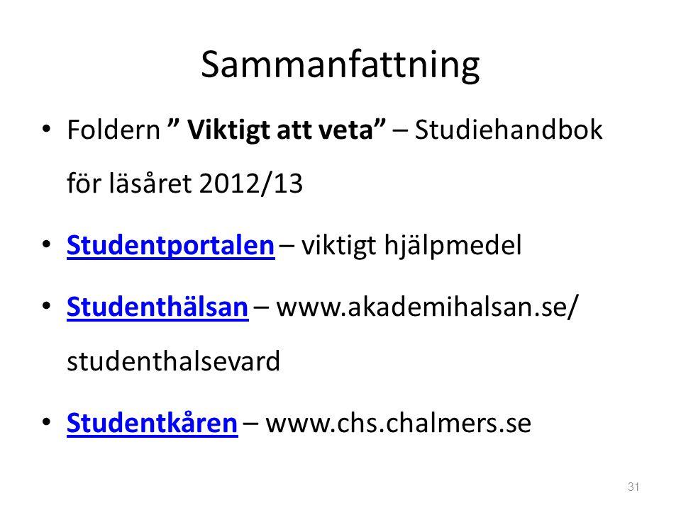 Sammanfattning Foldern Viktigt att veta – Studiehandbok för läsåret 2012/13. Studentportalen – viktigt hjälpmedel.