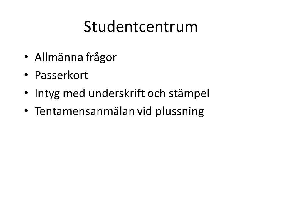 Studentcentrum Allmänna frågor Passerkort