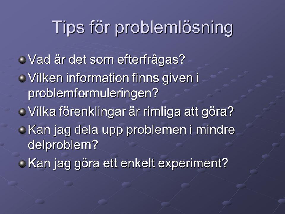 Tips för problemlösning
