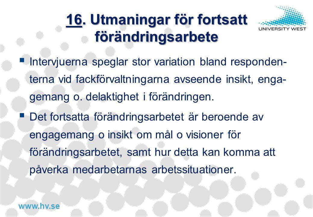 16. Utmaningar för fortsatt förändringsarbete