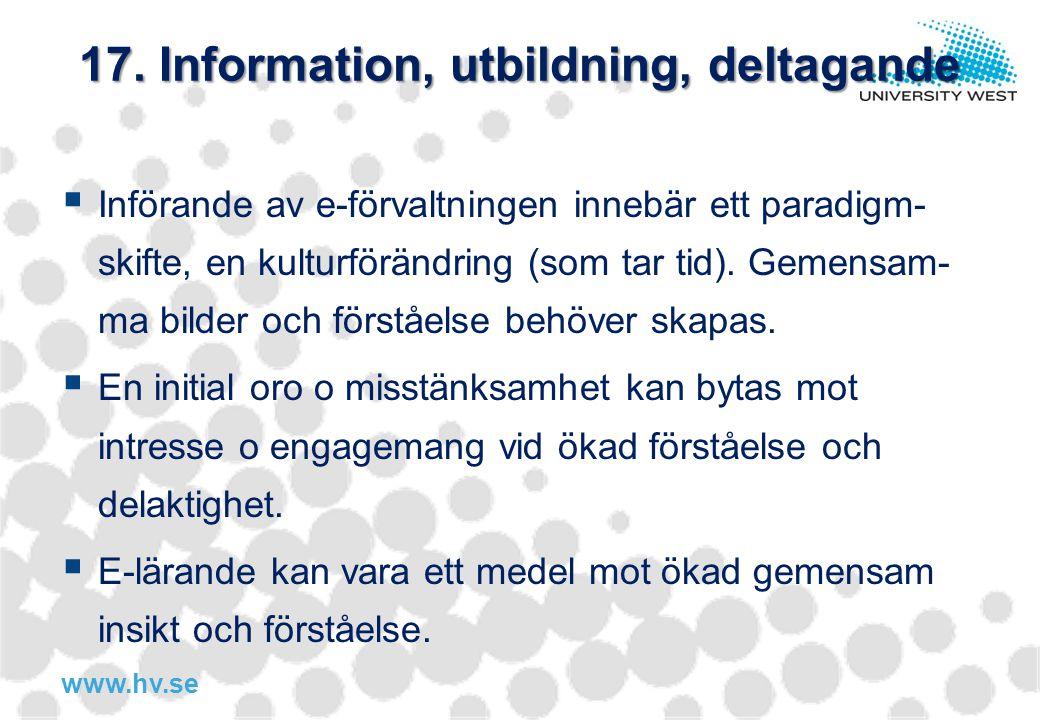 17. Information, utbildning, deltagande