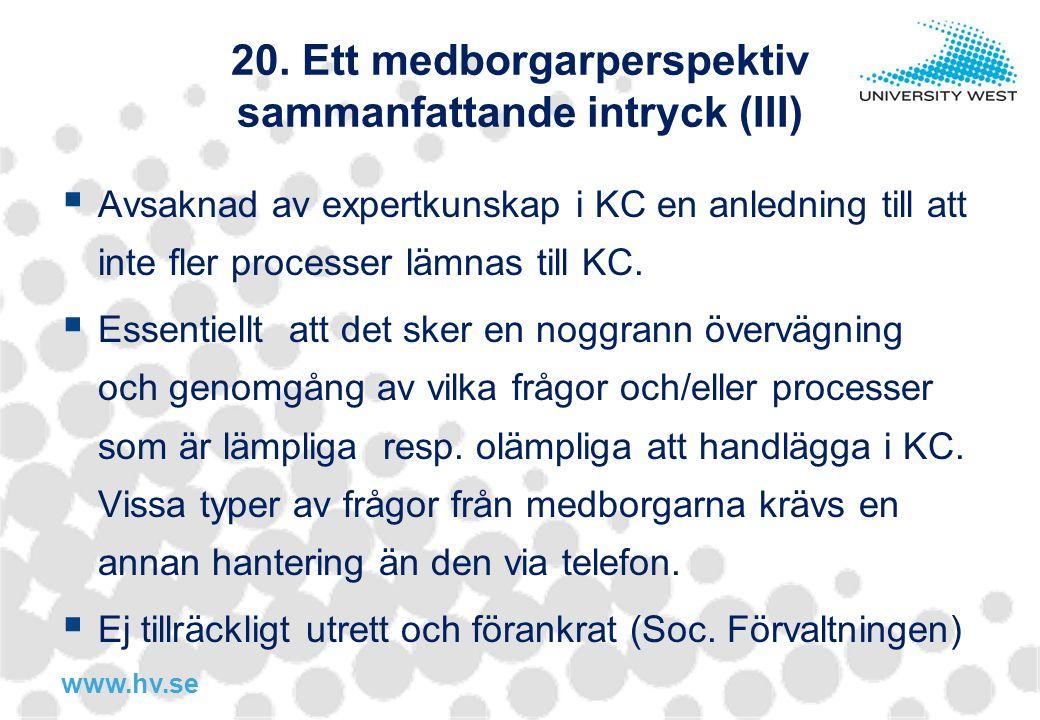 20. Ett medborgarperspektiv sammanfattande intryck (III)