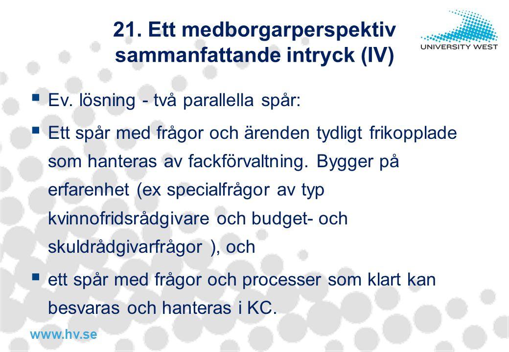 21. Ett medborgarperspektiv sammanfattande intryck (IV)