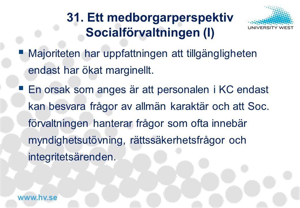31. Ett medborgarperspektiv Socialförvaltningen (I)