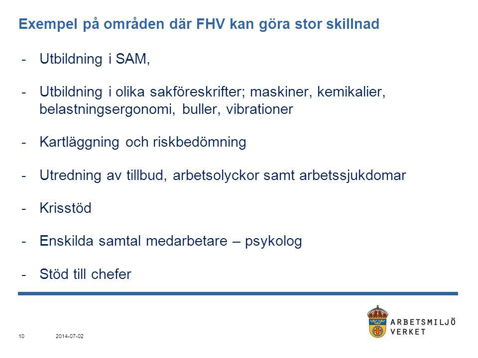Exempel på områden där FHV kan göra stor skillnad