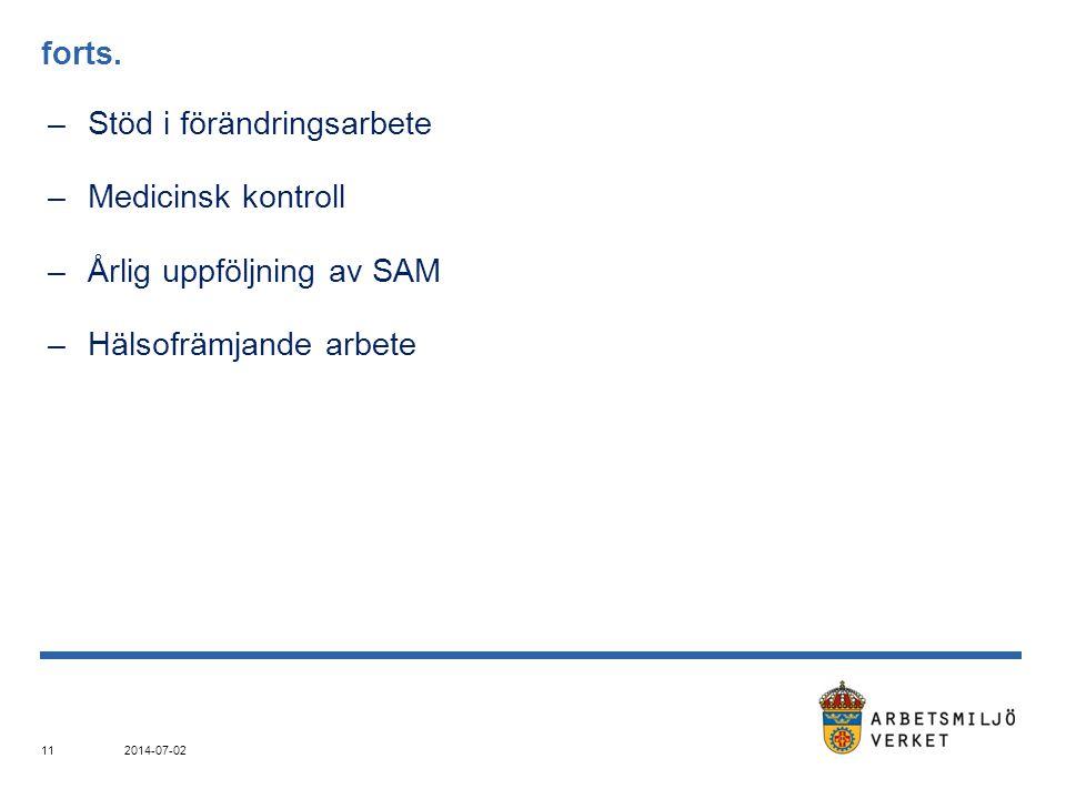 Stöd i förändringsarbete Medicinsk kontroll Årlig uppföljning av SAM