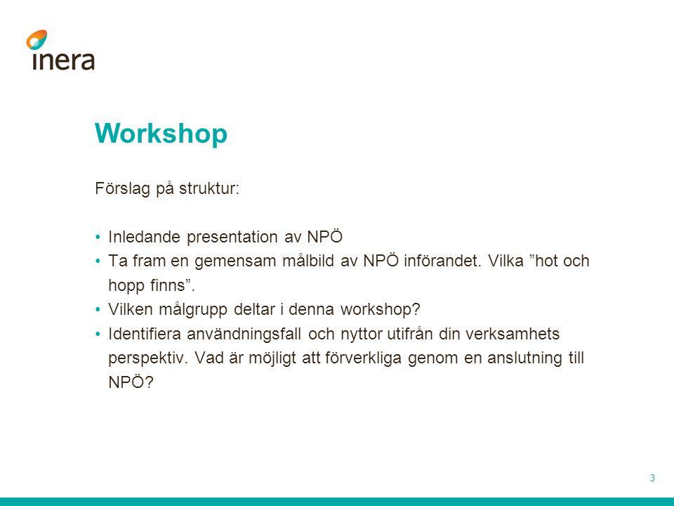 Workshop Förslag på struktur: Inledande presentation av NPÖ